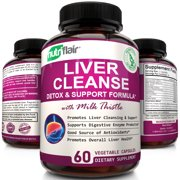 NutriFlair Liver Support and Detox Supplement, Max Strength Liver Cleanse Detox Formula with Milk Thistle, 60 Capsules