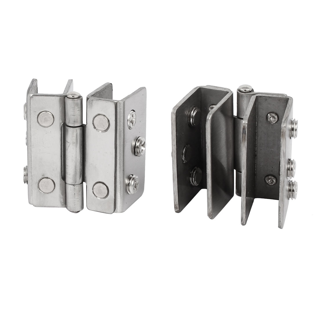 8-10mm Thickness Adjustable Glass Door Double Clip Clamp Hinges 2PCS - image 3 of 4