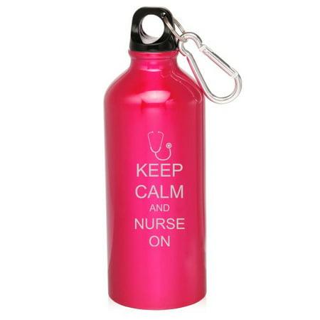 Hot Pink 20oz Aluminum Sports Water Bottle Caribiner Clip ZW196 Keep Calm and Nurse On Stethoscope](Nurse Water Bottle)