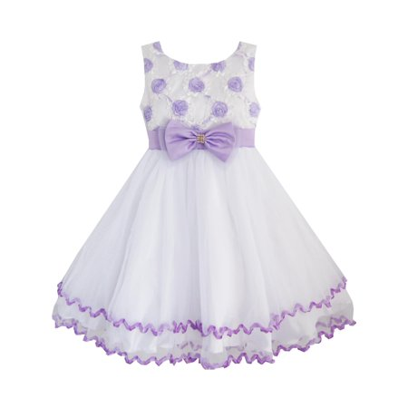 Girls Dress Purple Flower White Tulle Pleated Wedding Party Child Clothes 2-3 - Dress Kids Girl