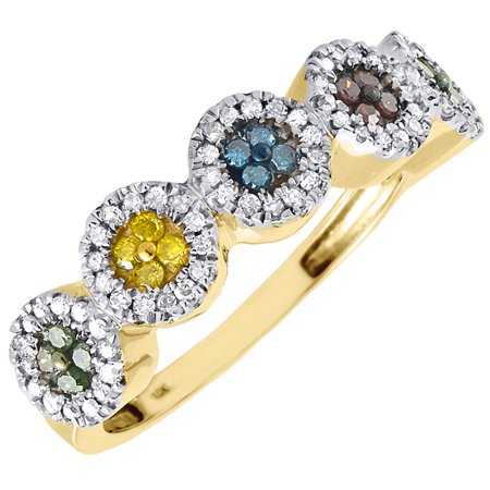 Diamond Multicolor Fashion Right Hand Band 10K Yellow Gold Cocktail Ring 0.40 Ct 10k Gold Cocktail Rings
