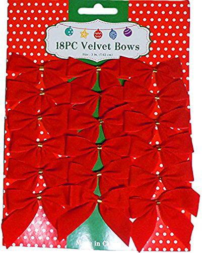 """3"""" Mini Red Velvet 2 Loop Bow W/Gold Foil Tie Back (18 Pack)"""