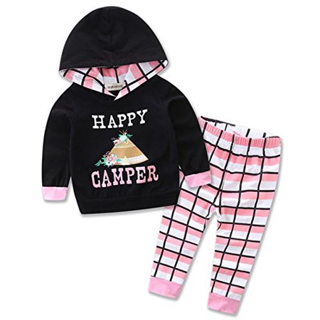 StylesILove Newborn Infant Toddler Baby Girl Happy Camper Long Sleeve Hoodie and Plaid Pants Casual Clothing Set 2-piece (100/18-24 Months)
