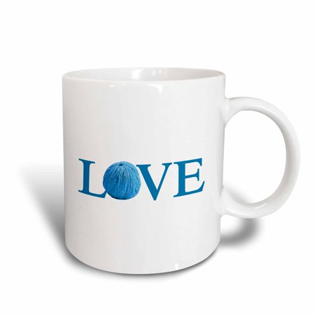 3Drose Love Knitting   Blue Text With Ball Of Yarn Wool   Knit Knitter Fan  Ceramic Mug  11 Ounce