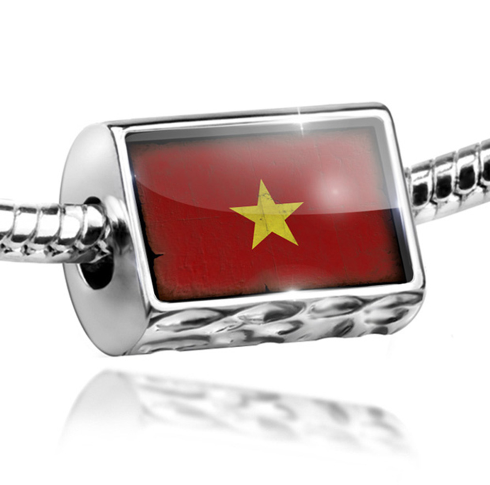 Bead Vietnam Flag with a vintage look Charm Fits All European Bracelets by NEONBLOND