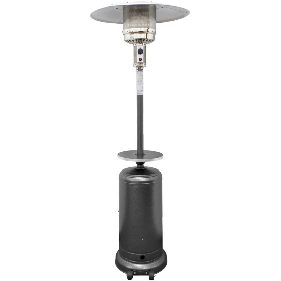 hiland tall hammered silver patio heater with table - Outdoor Propane Heaters