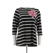 Bob Mackie Floral Applique Jewel Striped Top 3/4 Slv A221788