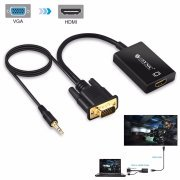 Component Video Cable Gold Plating - ESYNIC VGA To HDMI Converter Cable 3.5mm Audio Output Gold Plated VGA To HDMI Video Cable Adapter 1080P VGA Male to HDMI Female Adapter for PC l aptop HDTV Projector