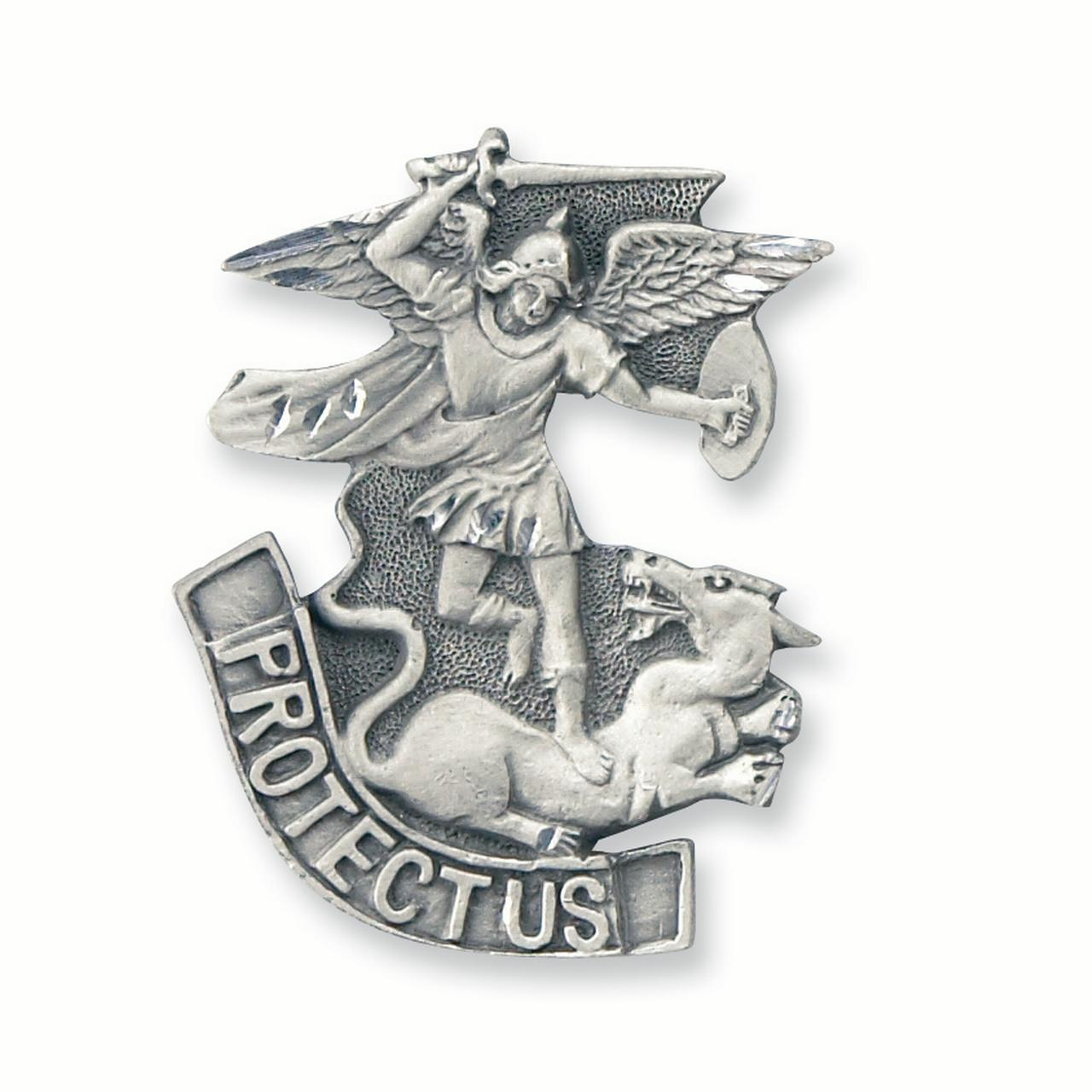 Saint Michael Protect Us Visor Clip Religious Travel For Women Gift Set