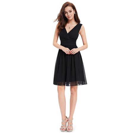 5f434d530b8 Ever-pretty - Ever-Pretty Women s Plus Size Short Formal Evening Cocktail  Bridesmaid Summer Casual Dresses for Women 03989 Black US 16 - Walmart.com