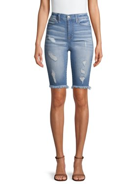 No Boundaries Juniors' Biker Distressed Bermuda Shorts