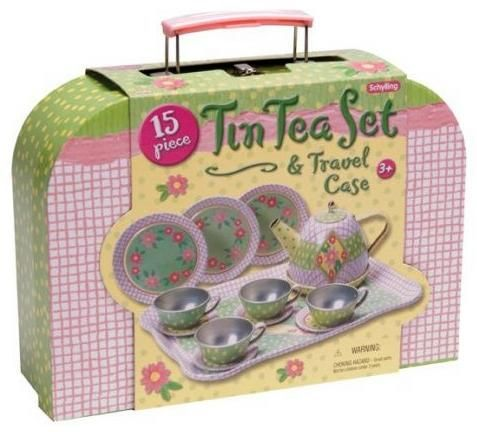 Schylling 15 Piece Children's Tin Tea Set & Travel Case Heart Tin Tea Set