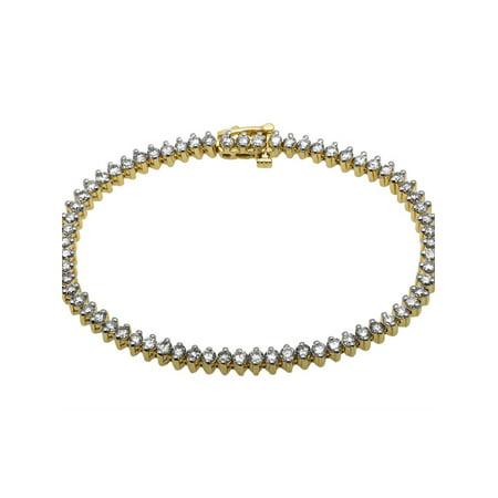 14K Yellow Gold One Row Pronged Diamond Bracelet 4 Ct