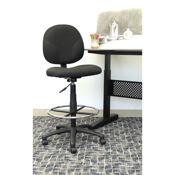 Boss Office Products Black Deluxe Drafting Stool