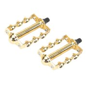 """Twisted Pedals 1/2"""" W/Logo Gold. Bike pedals, bicycle pedal, for lowrider , beach cruiser, chopper, limo, stretch bike"""