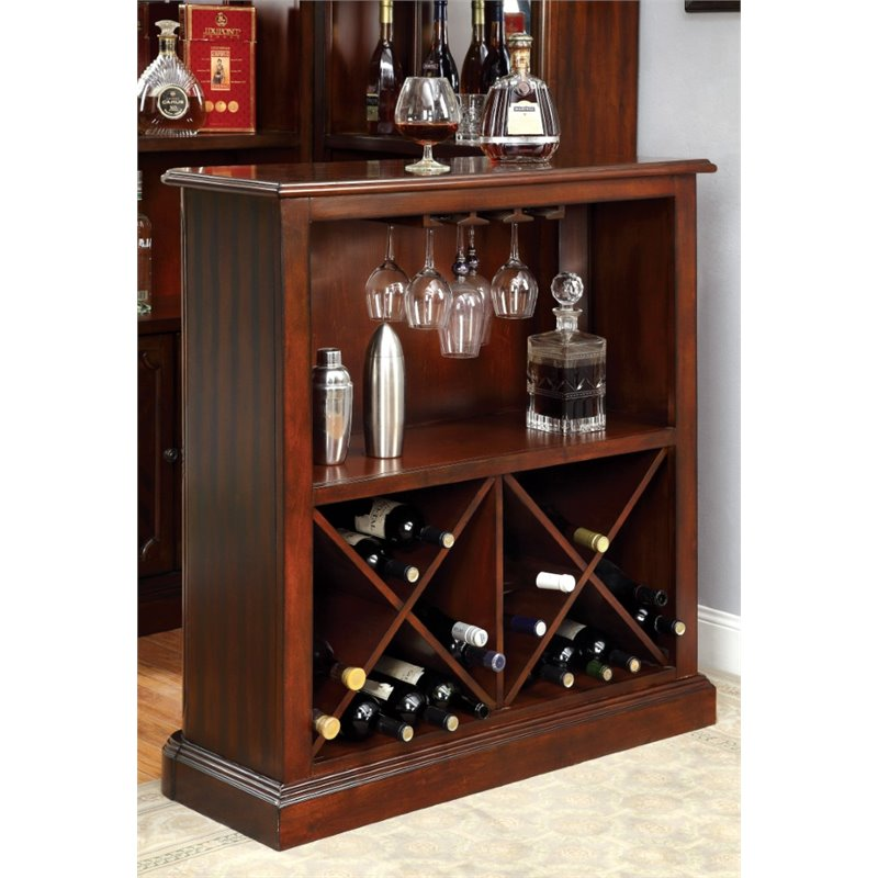 Furniture of America Myron Traditional Wine Rack in Dark Cherry