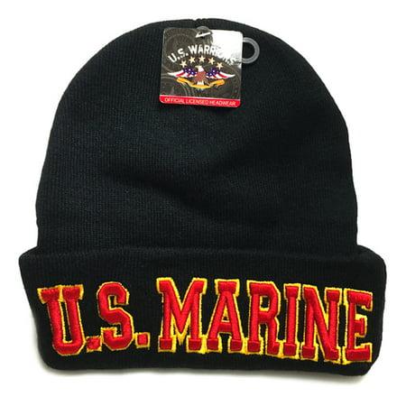 Script Military Hat - U.S. Military U.S. MARINE Script Black Basic Knit Long Beanie Hat Cap