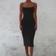 Women Tight Slim Sling Sleeveless Dress Simple Casual Dresses