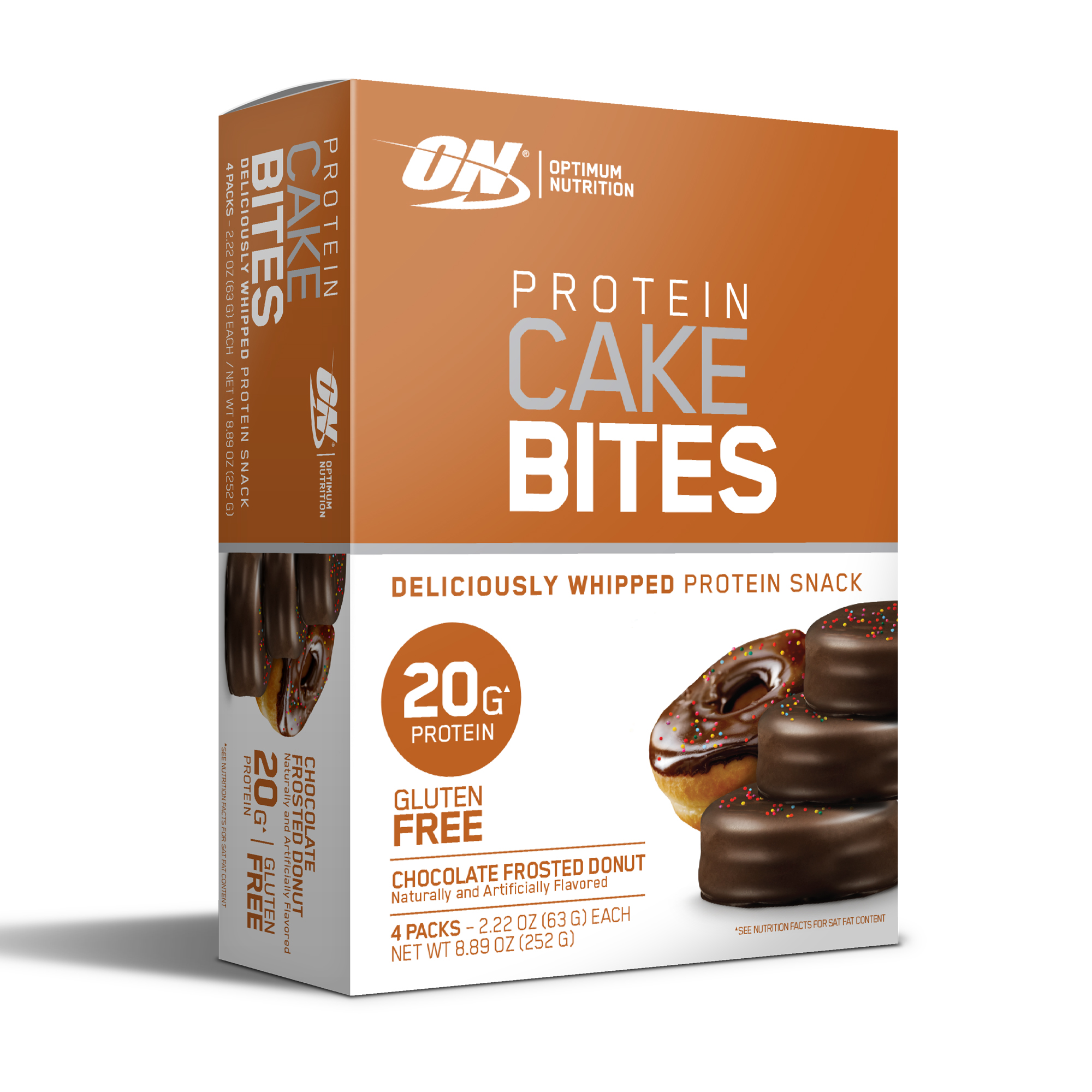 Optimum Nutrition Protein Cake Bites, Chocolate Donut, 20g protein, 4 Count