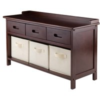 Adriana Storage Bench with 3 Baskets (Walnut)