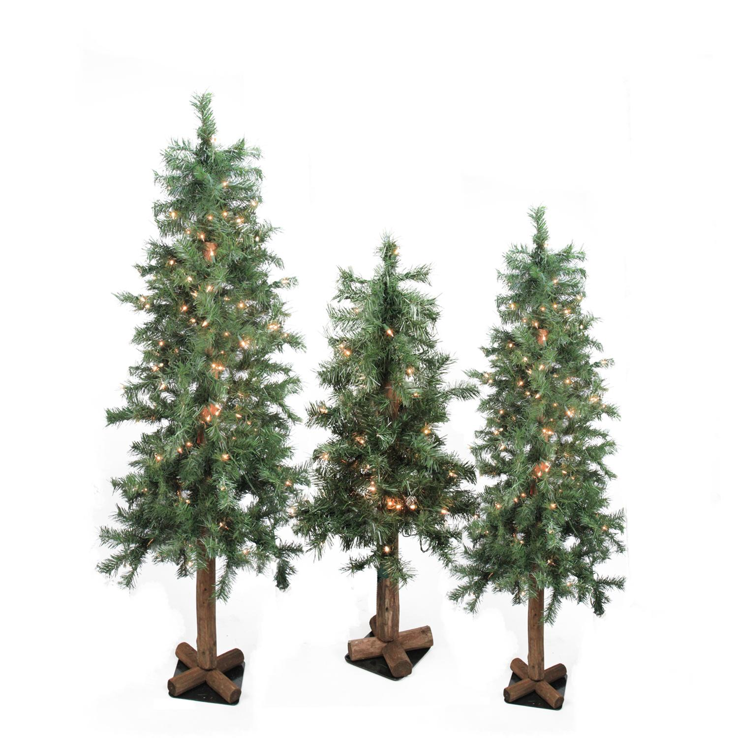 Set of 3 Pre-Lit Woodland Alpine Artificial Christmas Trees 4', 5' and 6' - Clear