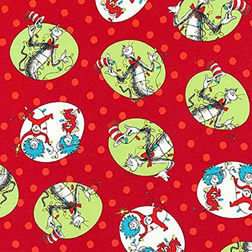 Clearance Sale~The Cat in the Hat Christmas~Red Circles Cotton Fabric by Kaufman