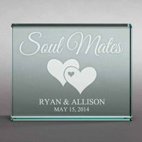 "Personalized Soul Mates 4"" x 5"" Glass Keepsake"