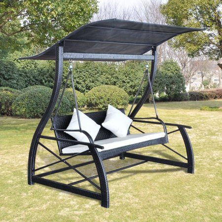 Poly Perch - Canopy Porch Swing Garden Swing Chair Outdoor Poly Rattan Black