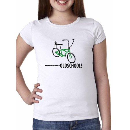 Old School - With Picture of Bicycle Banana Seat Girl's Cotton Youth T-Shirt