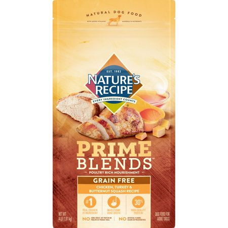 Nature's Recipe Prime Blends, Chicken, Turkey, and Butternut Squash Recipe, Grain Free, Dry Dog Food, 4 Pound Bag - Butternut Squash Halloween Recipe