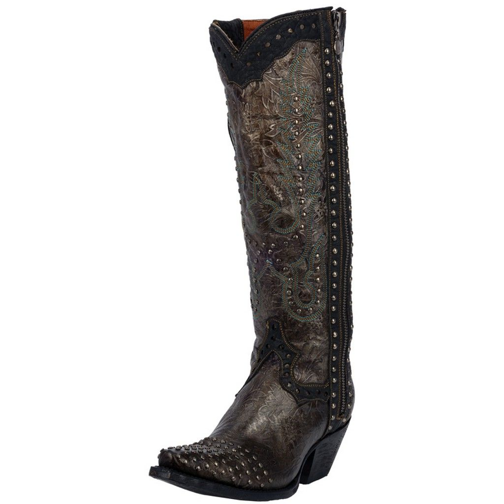 Dan Post Fashion Boots Womens Side Zipper Studded Olive Black DP3227 by Dan Post Boots