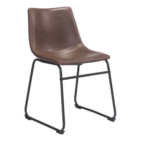 Contemporary Urban Industrial Antique Vintage Style Kitchen Room Dining Chair, Brown - Faux Leather Leatherette Plywood, (Faux Vintage Antique)