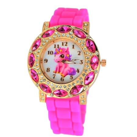 Gold Tone Pearl Wrist Watch - Unicorn Cute Stones Wrist  Watch For Girl's. Gold Tone Analog Display.Glowing Hands.