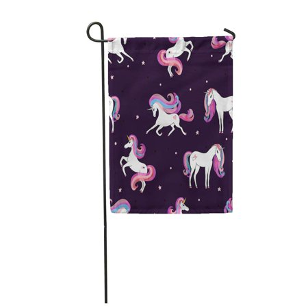 KDAGR Watercolor Cute with Beautiful Unicorns Magic Design Pink Kids Fantasy Pony Rain Garden Flag Decorative Flag House Banner 28x40 inch Teamson Design Magic Garden