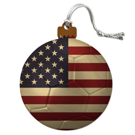 United States of America American USA Flag Soccer Ball Futbol Football Wood Christmas Tree Holiday Ornament - Football Christmas Ornaments