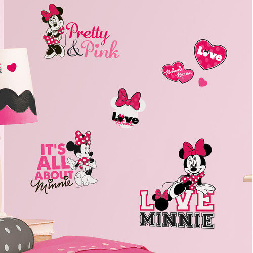 Room Mates Peel and Stick 28 Piece Mickey and Friends Minnie Loves Wall Decal