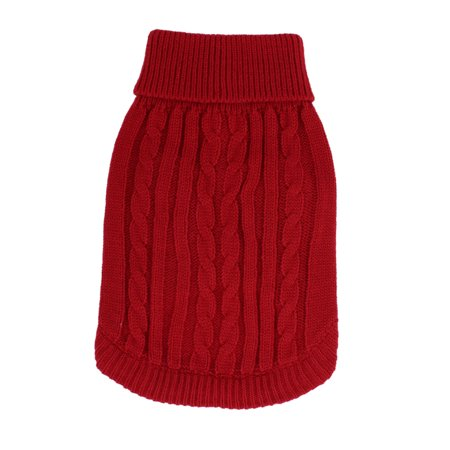 Unique Bargains Pet Dog Doggy Ribbed Cuff Twisted Knitwear Turtleneck Apparel Sweater Clothes Red Size - Dobby Dog Costume