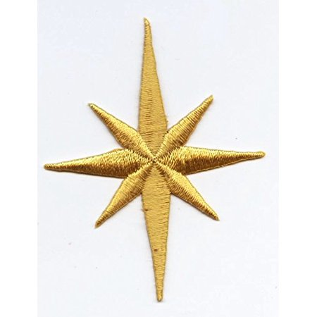 Large - Nativity Star - Yellow - Iron on Applique/Embroidered (Nativity Felt)