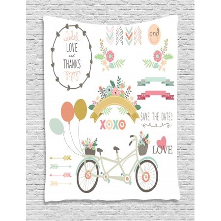 Engagement Party Tapestry, Bicycle With a Basket Full of Spring Flowers Wedding Concept Elements, Wall Hanging for Bedroom Living Room Dorm Decor, 40W X 60L Inches, Multicolor, by