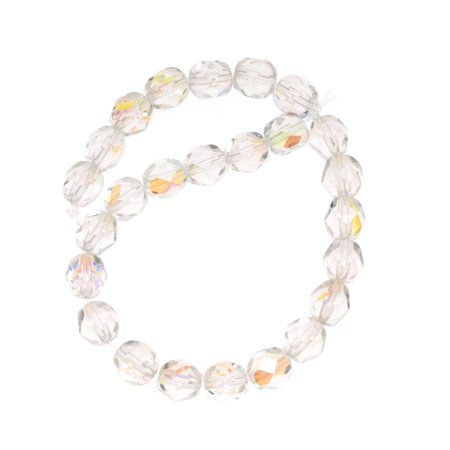 Czech Fire Polished Glass Beads 6mm Round 'Crystal AB' -