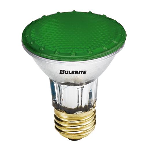 50 Watt Dimmable Halogen PAR20 Medium Base Green, Case of 15
