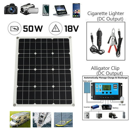 50W 18V 2 USB Port Ultr a-Thin Portable Outdoor Monocrystalline Solar Panel Charger with Solar Controller Inverter DC Alligator Clip for All USB Devices RV Boat Cabin Tent Car Truc