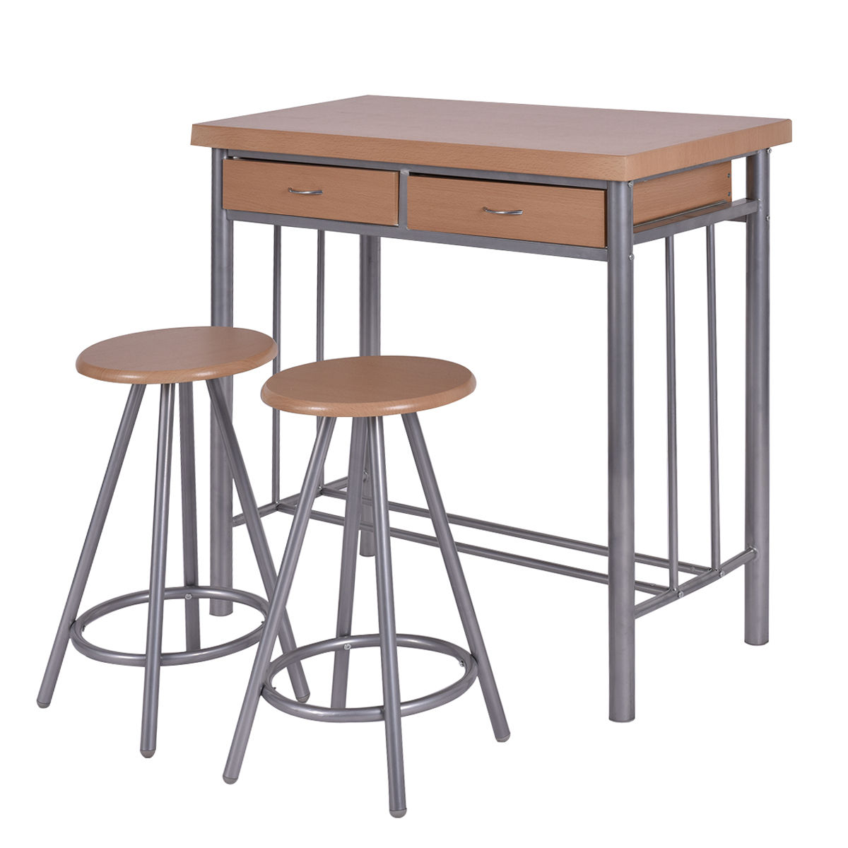 Costway 3 Piece Dining Set Table and 2 Chairs Dinette Kitchen Breakfast  Metal Wood - Small Kitchen Table With Two Chairs