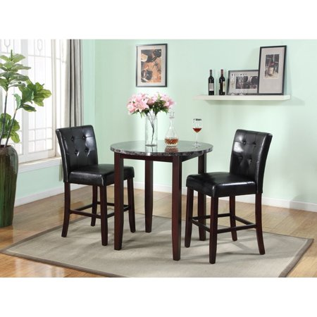 Roundhill Furniture Praia 3-Piece Artificial Marble Top Counter Height Set, Includes 1 Table and 2 (Marble Top Counter)