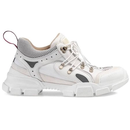 Gucci Men's White Leather Flashtrek Sneakers, Brand Size 8