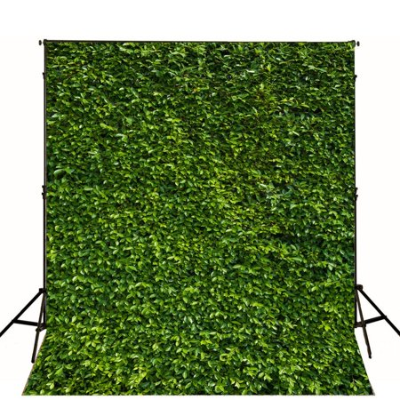 HelloDecor Polyester Fabric 5x7ft Photography Backdrops for Photographers Green Leaves Photo Backdrop