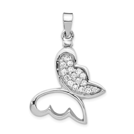 Sterling Silver Rhodium-plated Butterfly Cubic Zirconia Ash Holder Pendant
