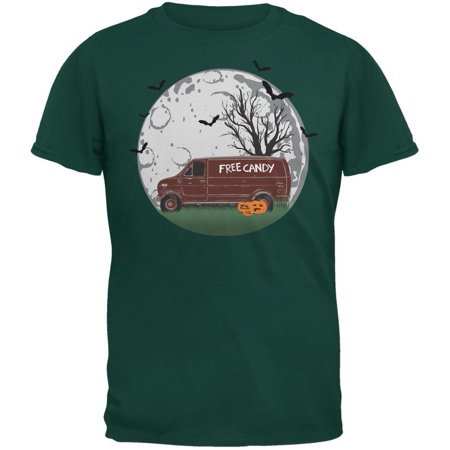 Halloween Free Candy Van Forest Green Adult T-Shirt - Van Halloween