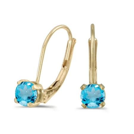 Blue Topaz 14k Gold Earrings - 14k Yellow Gold Round Blue Topaz Lever-back Earrings