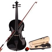 4/4 Full Size Acoustic Solid Violin, Fiddle Starter Kit with Case, Violin Bow, Rosin, Acoustic Violin Outfit Set, Musical Instruments, Violin for Beginners, Thanksgiving Christmas Gift, Black, W6717